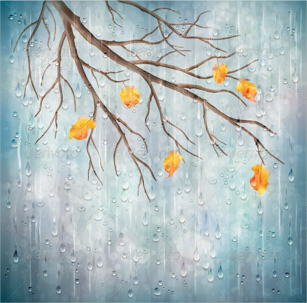 Vector Autumn Rain Backgrounds Tree Branch