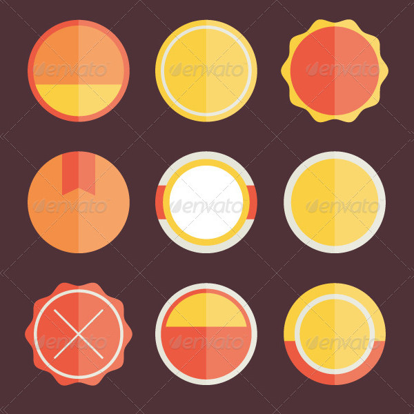 Vector Badges Stickers and Stamps Templates Set