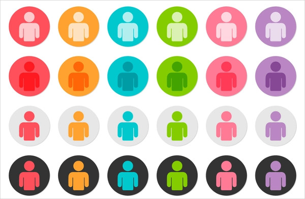 Vector Set Of Person Icon Buttons Free