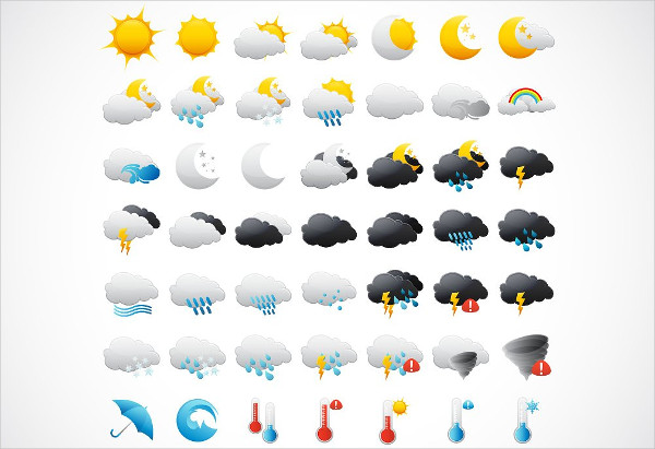 Perfect Set of Weather Icon Pack