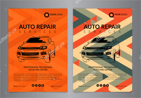Clean Auto Repair Center Flyer Templates