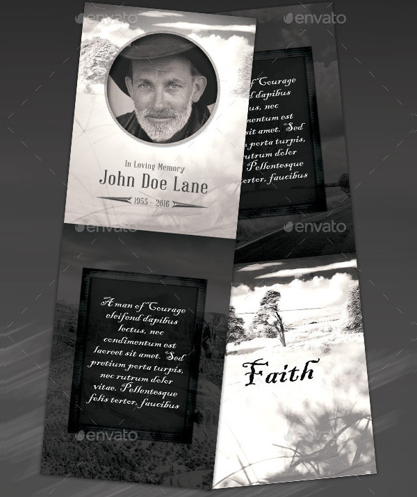 Vintage Funeral Program Stationery Template