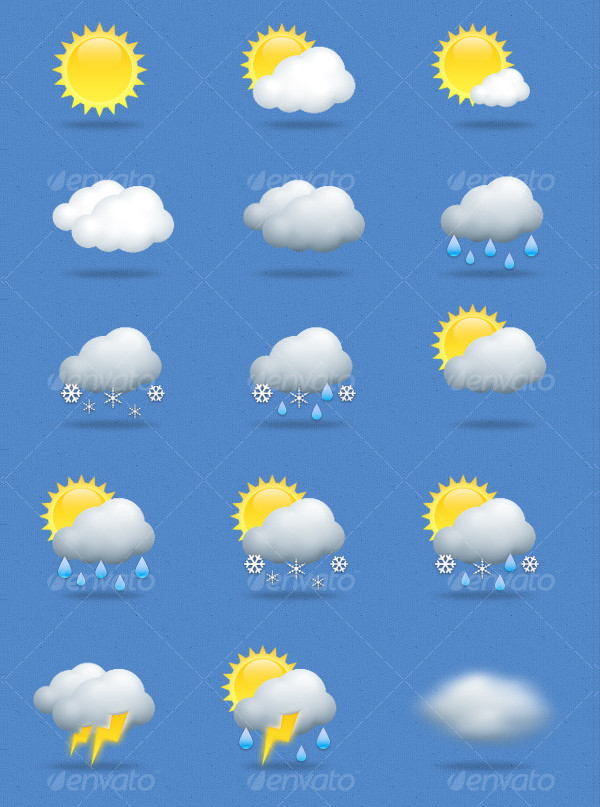 15 Weather Icons in Blue