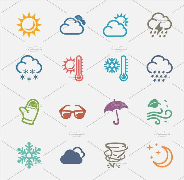 Weather Icons in Colored Series