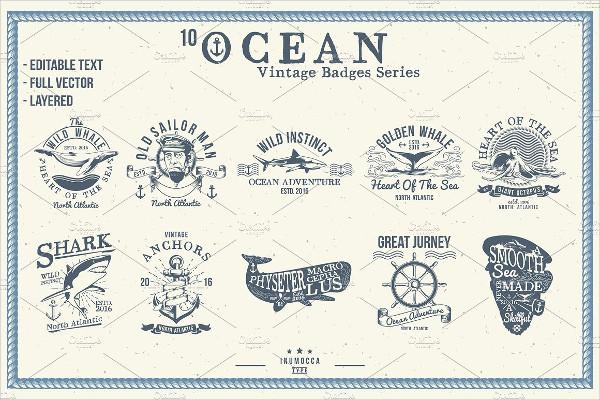10 Ocean Vintage Badges