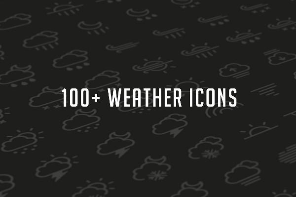 100 Weather Glyph Set