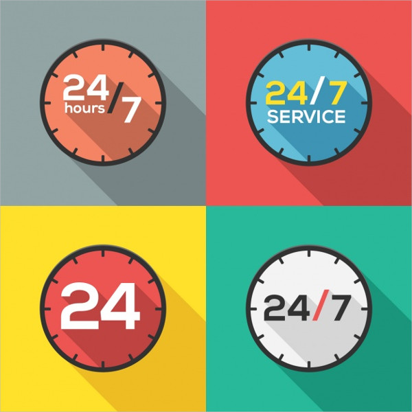 24 Hours Service Logos
