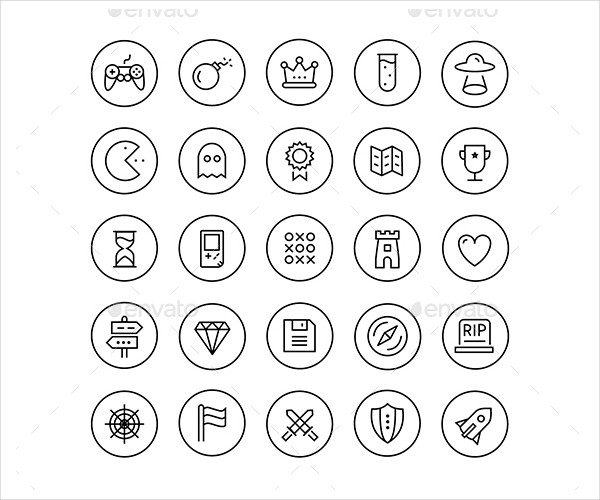 25 Game Line Circle Icons
