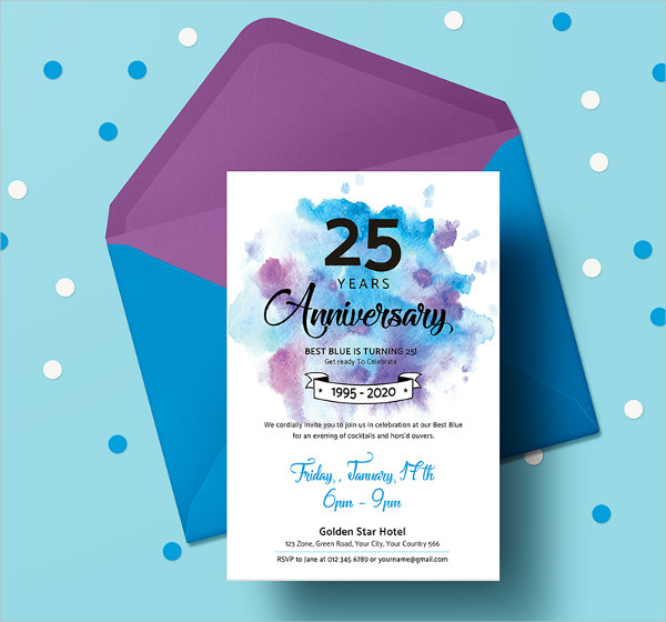 25 Years Anniversary Invitation Template