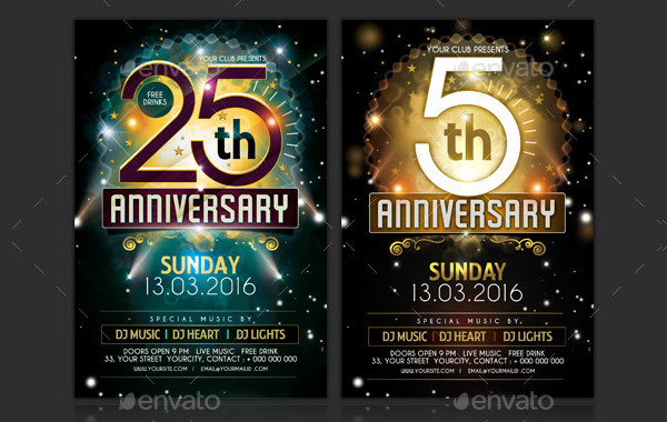 Classic Anniversary Advertising Flyer Template