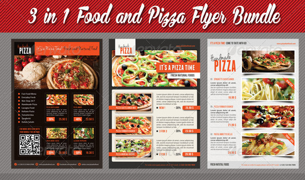3 in 1 Food And Pizza Menu Flyers Bundle