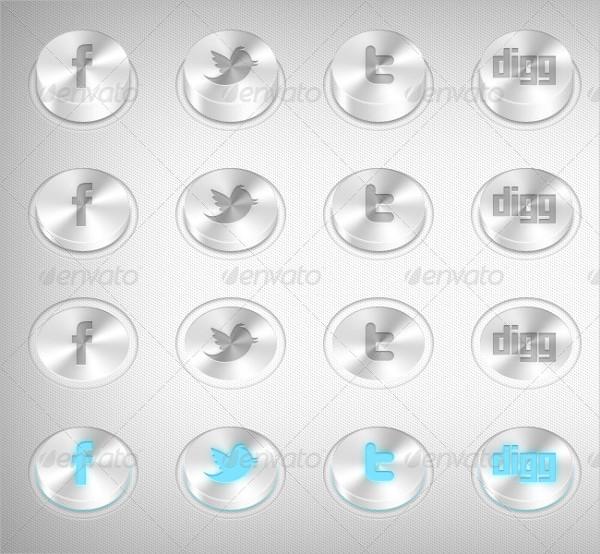 3D Social Media Buttons
