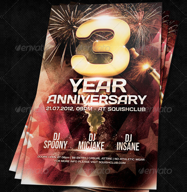 3rd Anniversary Party Flyer Template