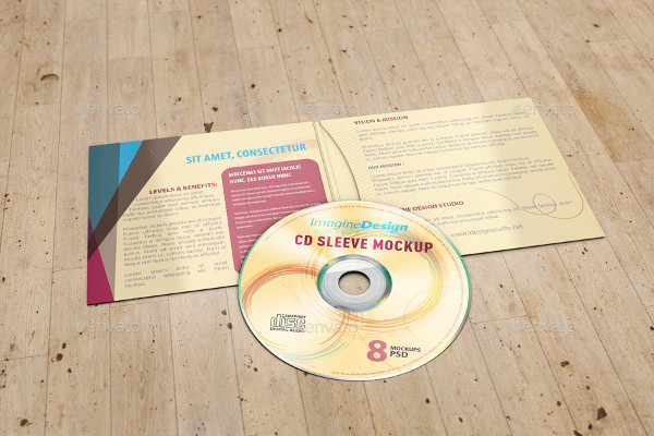 4 Panel CD Sleeve Mockup