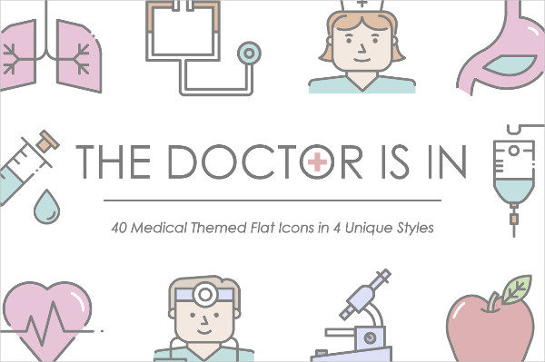 40 Medical Themed Flat Icons