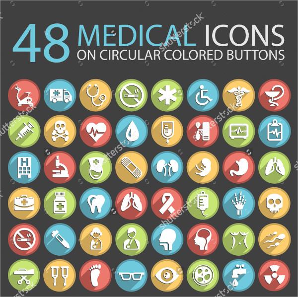 48 Medical Circular Colored Icons