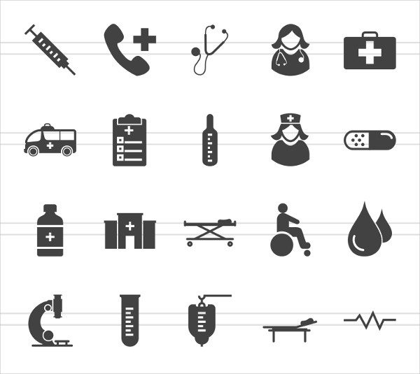 50 Medical Glyph Icons