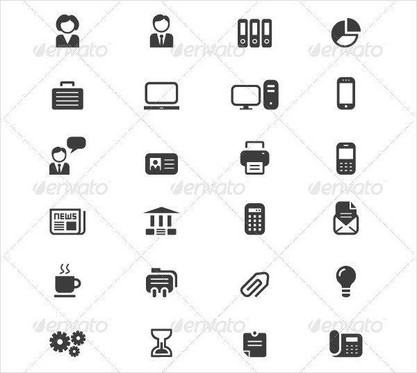 80 Black Business & Finance Icon Set