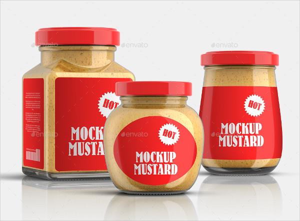 9 Mustard Jars Mock-Up