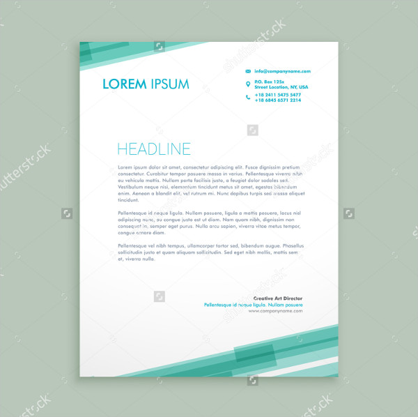 Abstract Blue Lines Letterhead Template