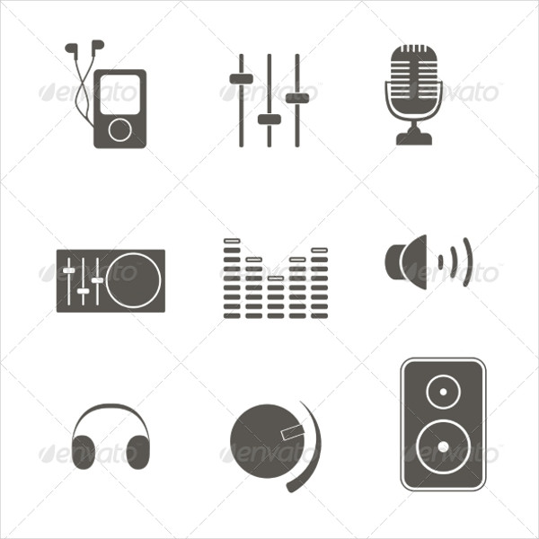 Abstract Music Equipment Icons