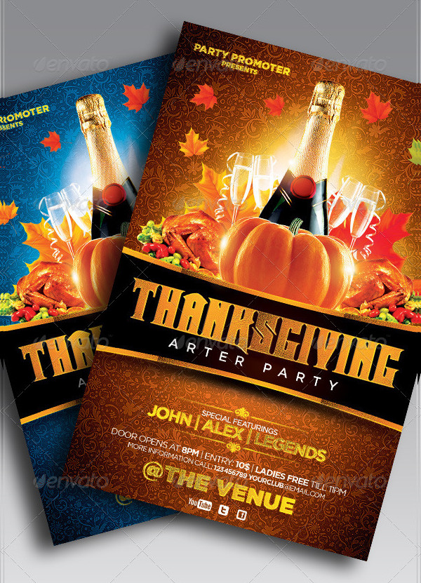 Beautiful Thanksgiving Party Flyer Template