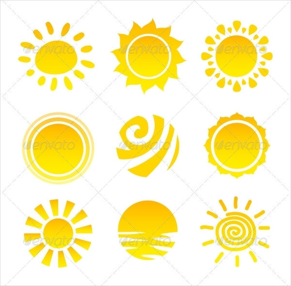 Editable Sun Light Icons Set