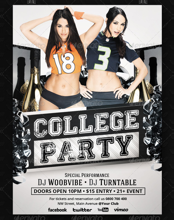 Attractive College Party Flyer Template