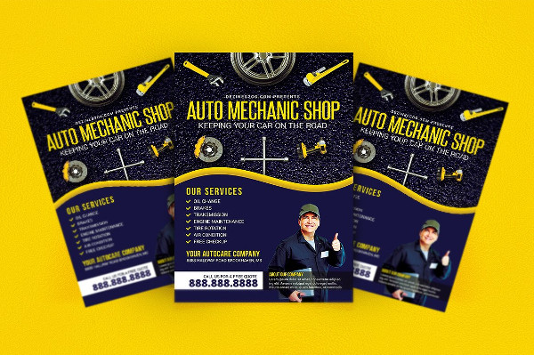 Auto Mechanic Repair Shop Flyer Template