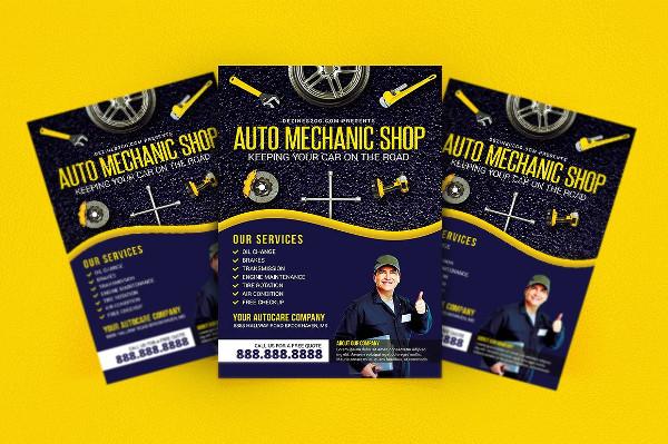 Auto Mechanic Repair Shop Flyer Template