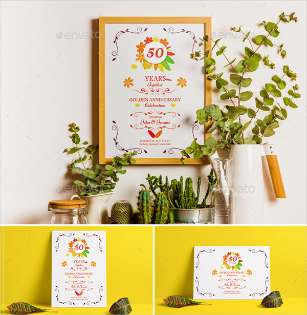 50th Anniversary Invitations Templates Bundle