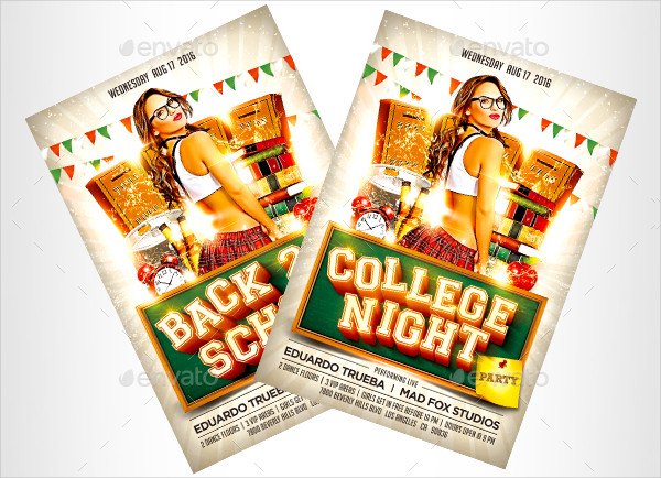Back 2 School & College Night Party Flyer Template