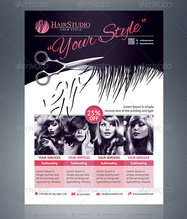 Creative Hair Salon Business Flyer Template