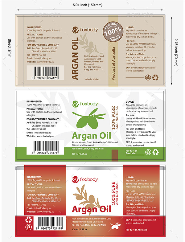 Amazing Oil Label Vector Templates