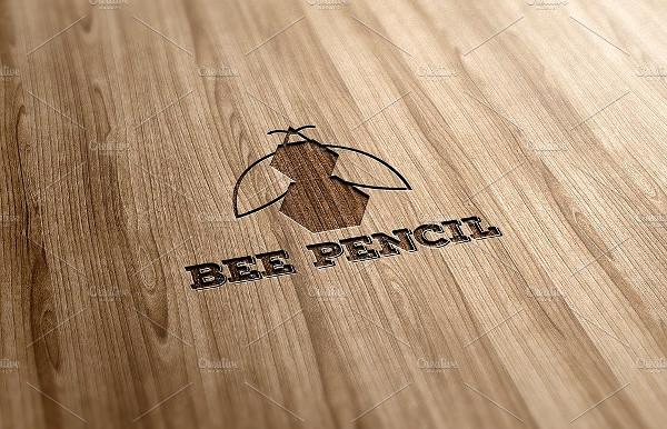 Bee Pencil Logo Design