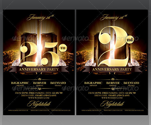 Birthday Anniversary Party Flyer Template