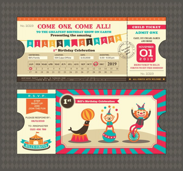 Free Birthday Invitation with Circus Ticket Design