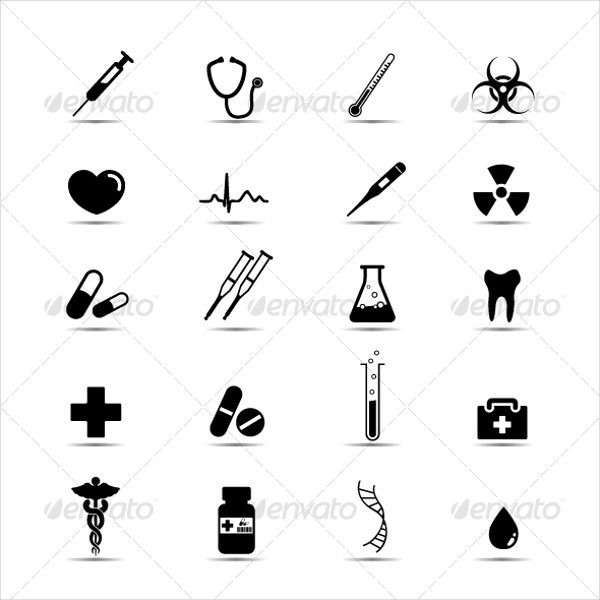 Set of Simple Black & White Icons