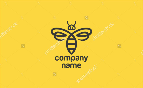 Modern Bee Illustration Logo Template