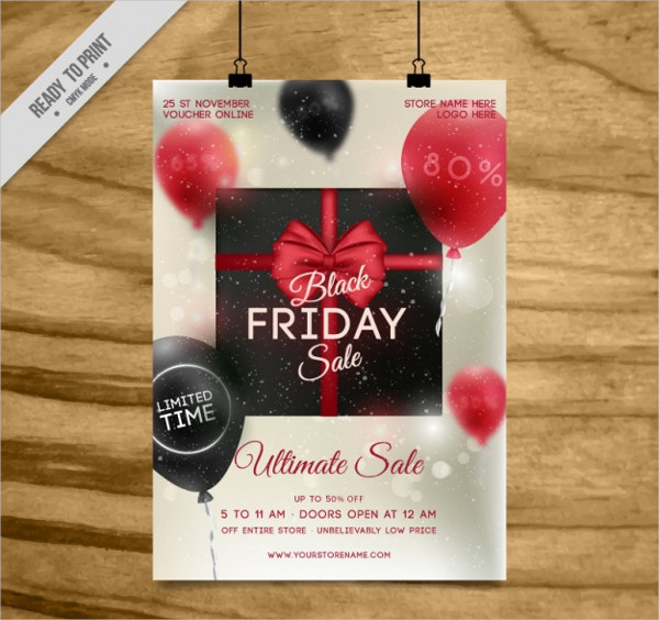 Black Friday Sale Flyer Template With Balloons Free