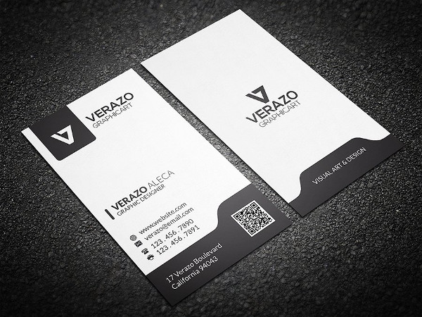 Black & White Vertical Business Cards