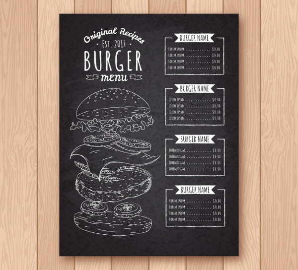 Blackboard with Burger Menu Template Free