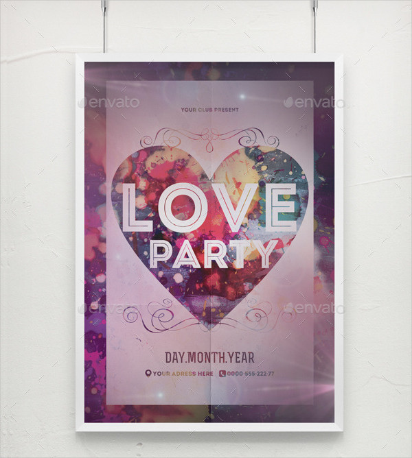 Bright Love Party Poster Template