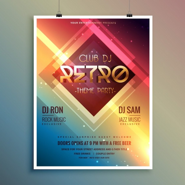 Bright Poster for a Retro Disco Party Free