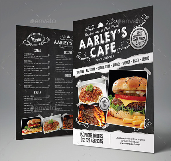 Blackboard Cafe Menu Flyer Template