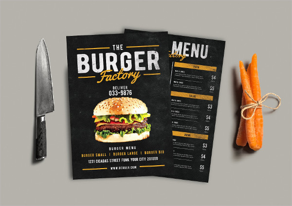 Burger Factory Menu Flyers