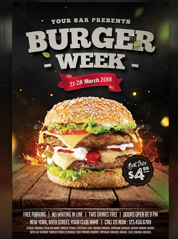 25  burger flyer templates