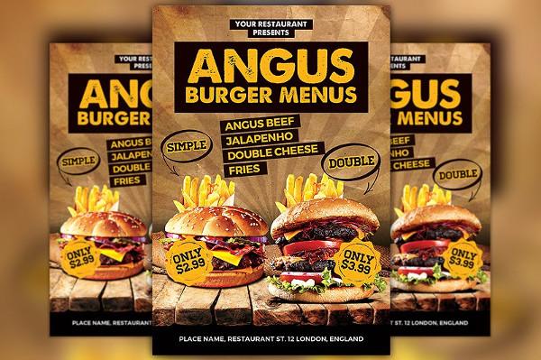 Burgers Offer Food Menu Flyer
