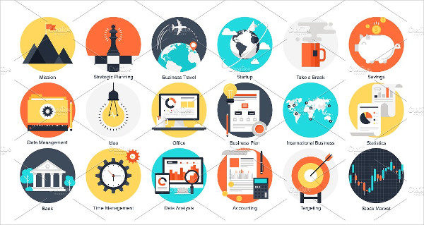 Colorful Flat Business and Finance Icons