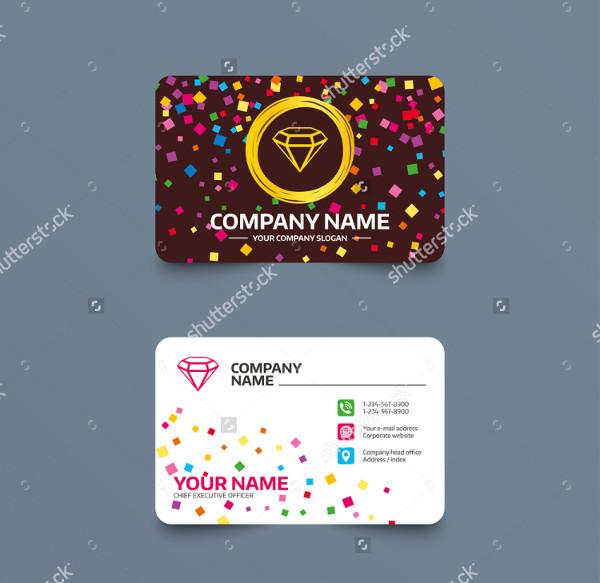 Business Card Template of Confetti Pieces Diamond